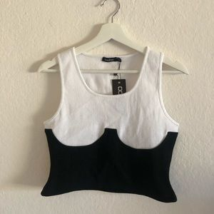 White Tank with Faux corset